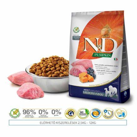 N&D Kutyatáp Medium/Maxi Adult Grain Free Pumpkin Bárány Áfonya Sütőtök  2,5Kg