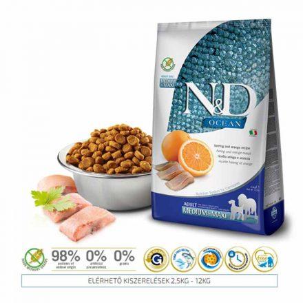 N&D Kutyatáp Medium/Maxi Adult Ocean Hering, Narancs  2,5Kg