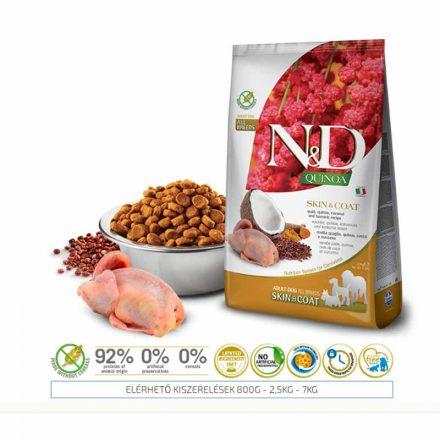 N&D Kutyatáp Quinoa Adult Skin&Coat Fürj  800G